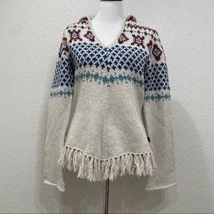 The North Face Knit Hoodie Fringe Sweater Small